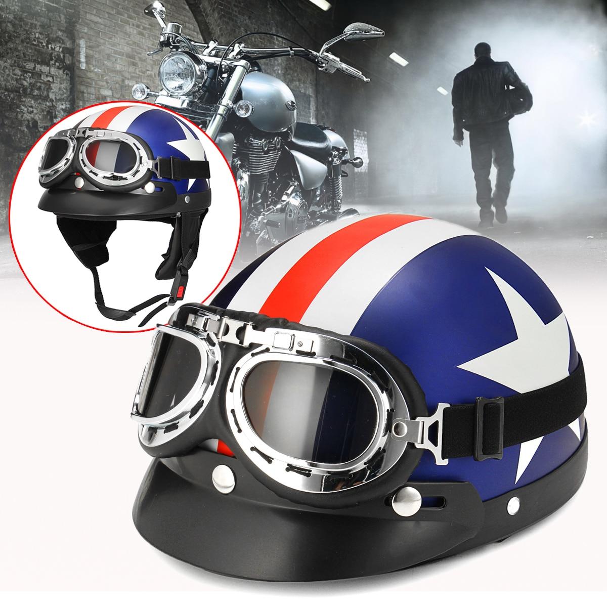 Universal ABS Motorcycle Helmet Vintage Style National flag Half Open Face Helmet Biker Scooter w/ Goggles Vintage/ Visor