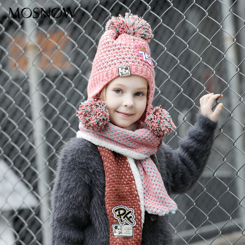Children Hats And Scarf Set Boy Girl Fashion Cute 3 Pompom High Quality Brand New 2019 Knitted Winter Caps Scarves #MZ859