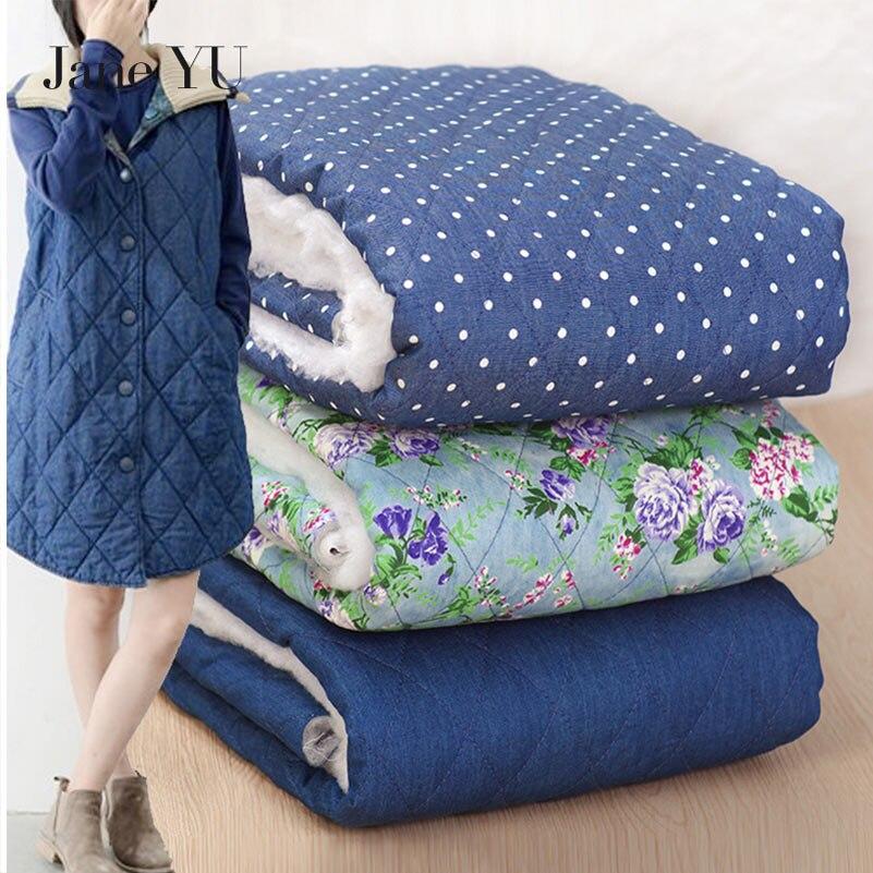 JaneYU Denim coton couette coton matelassé imprime coton chaud rembourré vêtements coton vêtements à la main automne et hiver tissu