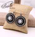 Badu Handmade Women Black Vintage Retro Style Women Round Hoop Earrings for Women Valentine's Day Gift Tiny Rhinestone Earring