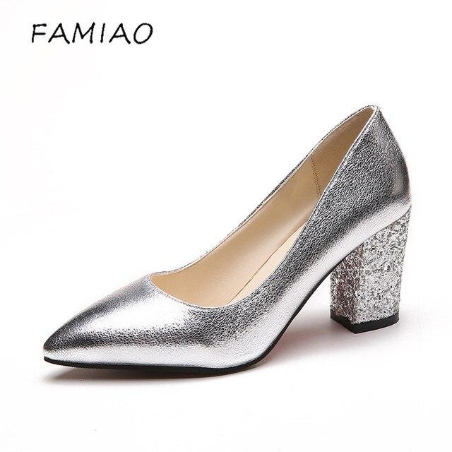 Famiao Обувь на высоком каблуке Женская обувь люксовый бренд Пряжка квадратный каблук bigtree обувь OL пикантные туфли-лодочки свадебные туфли женская обувь Saltos