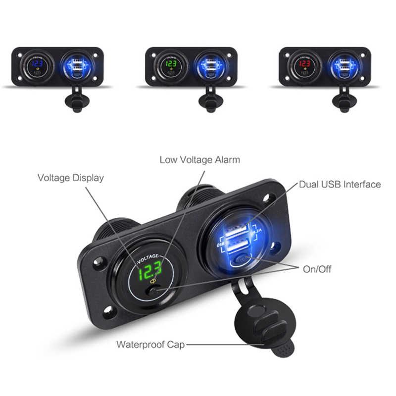 Updated 12V-24V Dual USB Charger + Cigarette Lighter +Voltmeter Car USB Socket with Independent On/Off 2.1+2.1A Car Fast Charger