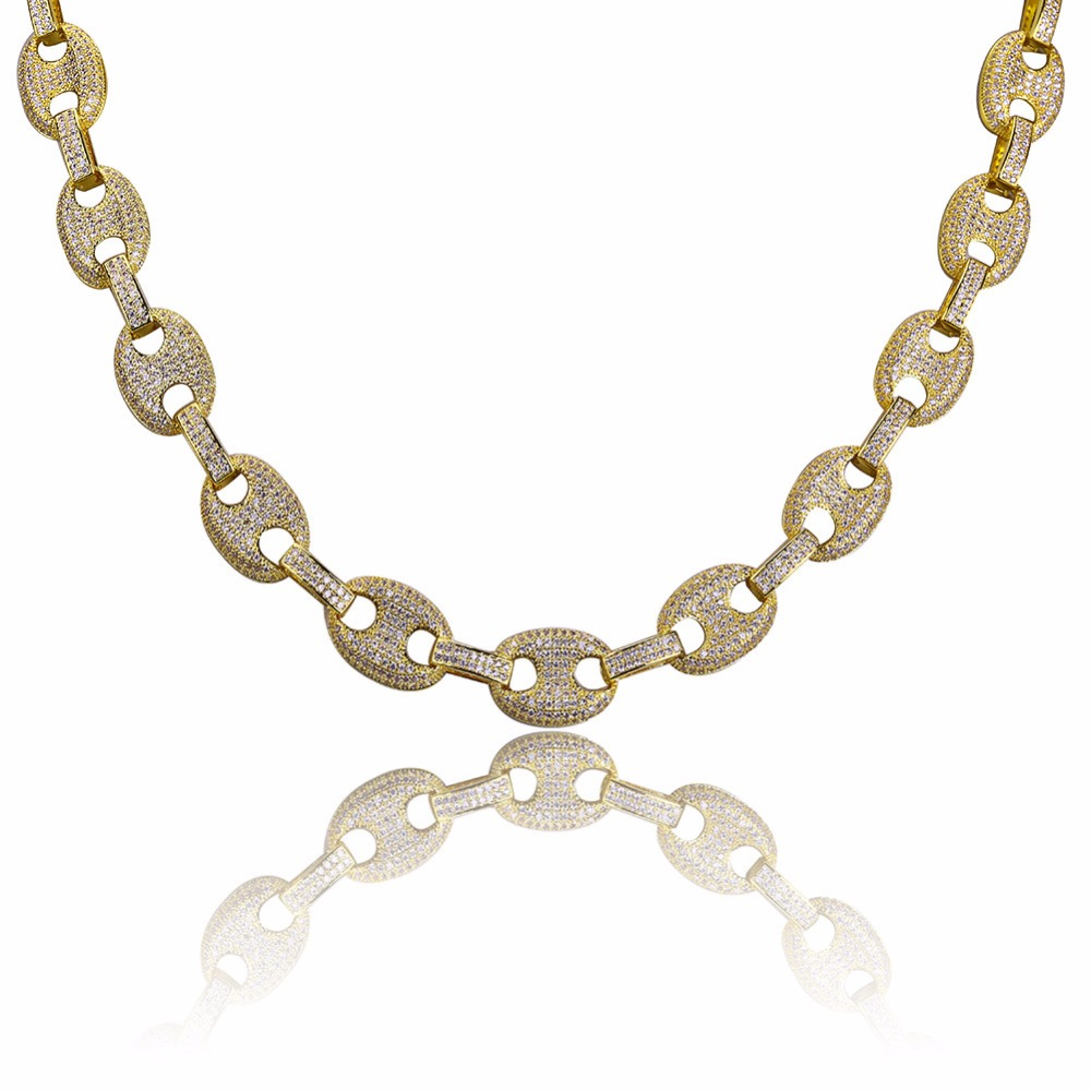 """AAA CZ Stone Paved Marine Link Necklaces Men's Hip hop Jewelry Gold Filled Copper Bling Iced Out Coffee Beans Chain 18"""" 22"""" Gift-in Chain Necklaces from Jewelry & Accessories    1"""