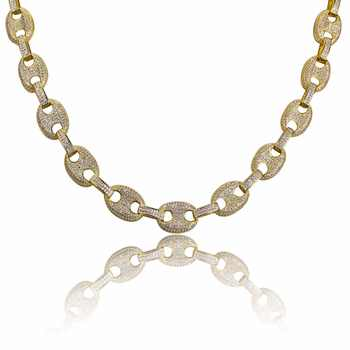 """AAA CZ Stone Paved Marine Link Necklaces Men\'s Hip hop Jewelry Gold Filled Copper Bling Iced Out Coffee Beans Chain 18\"""" 22\"""" Gift - DISCOUNT ITEM  20 OFF Jewelry & Accessories"""