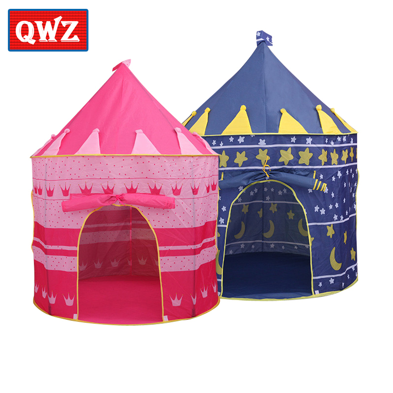 QWZ Play Tent Toy Portable Foldable Tipi Prince Folding Tent Children Boy Castle Cubby Play House Kids Gifts Outdoor Toy Tents цена в Москве и Питере