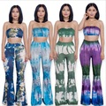 2016 European Summer Womens Two Piece Flare Pants Suits Sexy Off Shoulder Crop Short Tops Ladies Long Bell Bottoms Pantalon Set