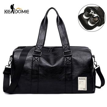 Pu Leather Gym Male Bag Top Female Sport Shoe Bag for Women Fitness Over the Shoulder Yoga Bag Travel Handbags Black Red XA567WD 1