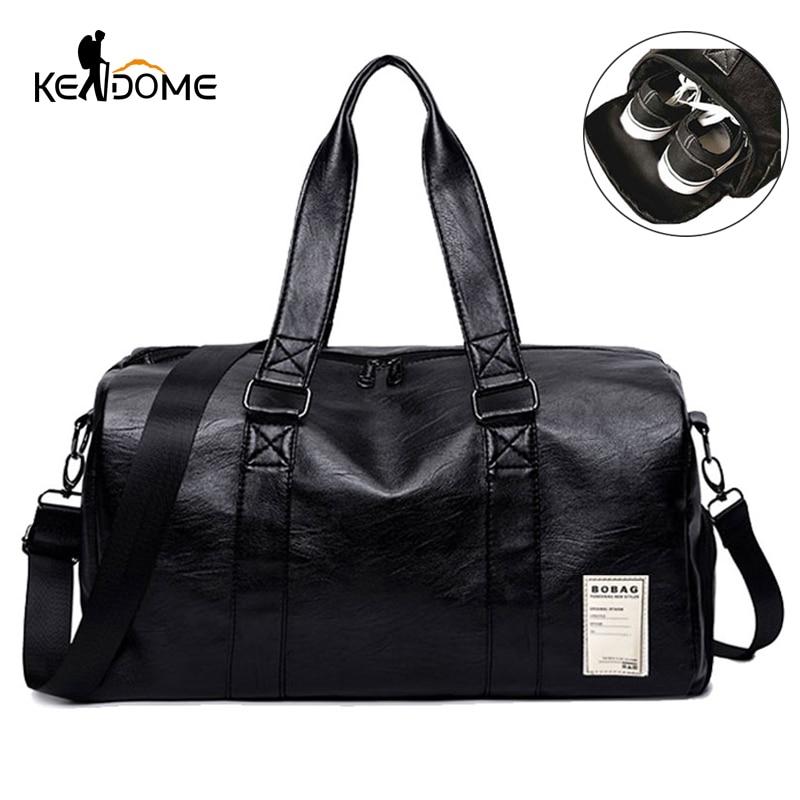 Pu Leather Gym Male Bag Top Female Sport Shoe Bag For Women Fitness Over The Shoulder Yoga Bag Travel Handbags Black Red XA567WD