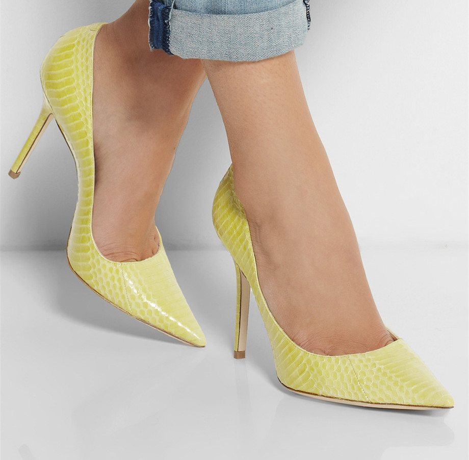 Yellow Embossed Leather Pointed Toe Women Pumps Slip-on Pumps High Heels Stilettos Heels Shoes Women Size 15 OL Shoes Party orange pointed toe pump women shoes sexy slip on women pumps real image thin high heels ol pump shoes large size 8 heels