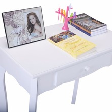 Golpus White Vanity Table Jewelry Makeup Desk and Bench Dresser with Mirror 3 Drawers Modern Furniture Vanity Table Set HB84003