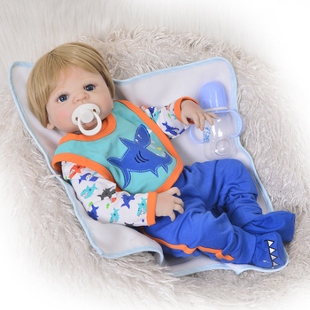Bebes reborn  Dolls 57 cm Full Silicone Baby Reborn Doll Boy Vinyl Look Real Fake Baby Toy For Kid Playmate Gift Xmas Present