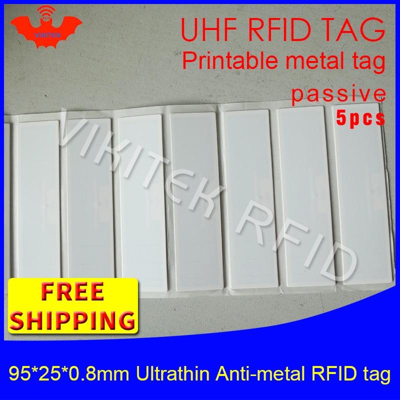 UHF RFID Ultrathin metal tag 915m 868m EPC 5pcs free shipping fixed assets 95*25*0.8mm long range PET passive RFID label personal assets