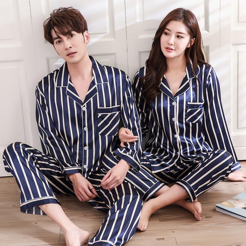 Satin Couples Pajamas Blue Stripe Pyjamas Women Sleepwear Spring Autumn  Casual Silk Female Suit Long Sleeve ce396658c