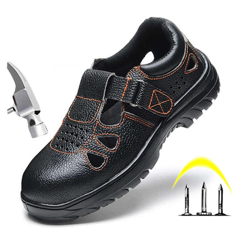 Mannen Schoenen Werken Laarzen Werken Veiligheid Boot Staal Teen Schoenen Ademend Anti-smashing Piercing Slip Op Lederen Veiligheidsschoenen werk Laarzen