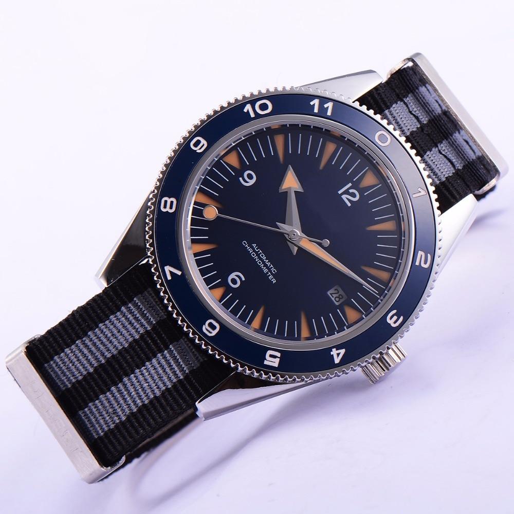 цена 41mm debert blue dial luminous sapphire glass miyota Automatic mens Watch D11 онлайн в 2017 году
