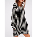 2017 Casual Loose Long T Shirt Women O-neck Long Sleeve Black White Striped Cotton Shirts harajuku Plus Size   LJPZ8321