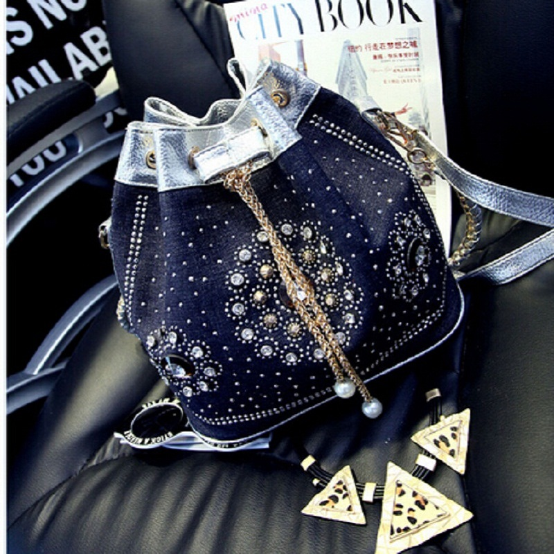 Blue In Dark Blue Denim Shoulder Bags Handbags Chain Bucket Bag Cord Studded Handbag For Sale