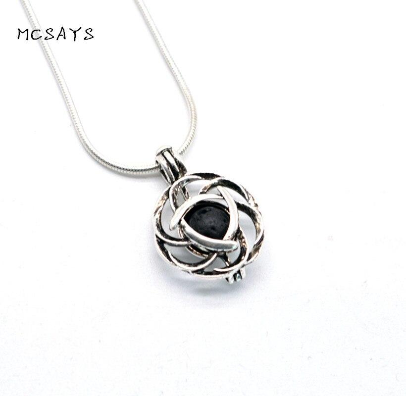 MCSAYS Viking Jewelry Retro Celtics Knot Shape Perfume Box Pendant Special DIY Aromatherapy Viking Necklace Fashion Gifts 4SL