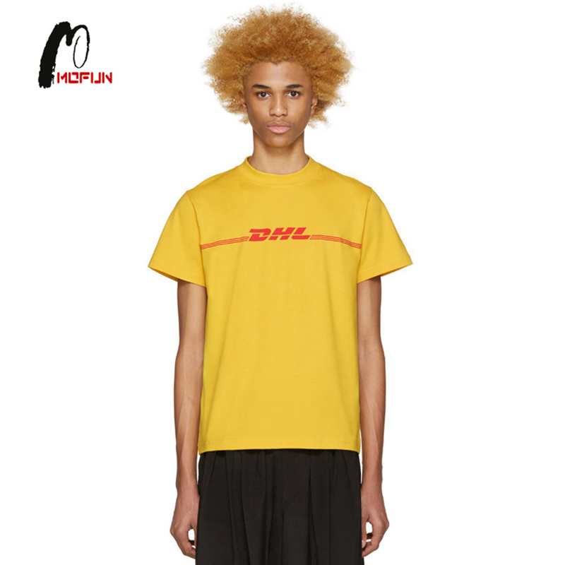 dhl not vetements unisex printed t shirt cotton tee with s. Black Bedroom Furniture Sets. Home Design Ideas