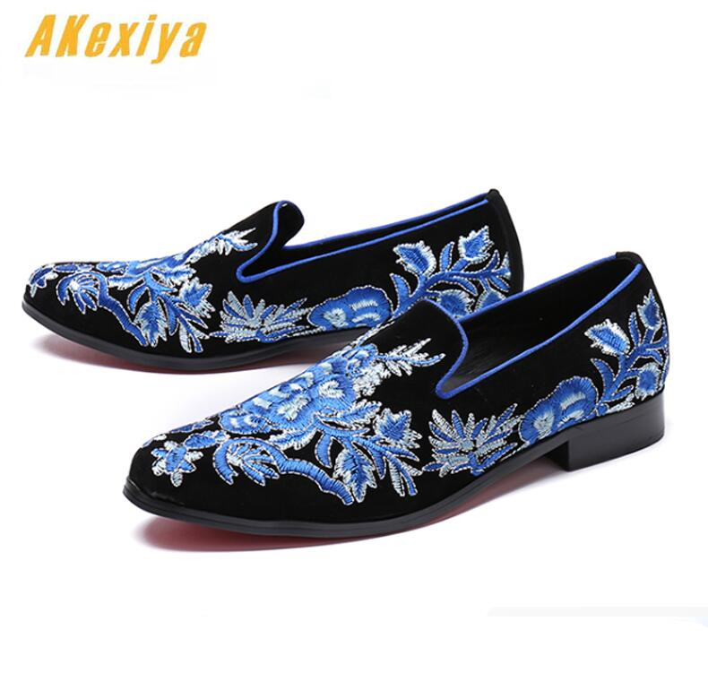 Shoes Men's Shoes Men Luxury Designer Punk Rock Blue National Embroidery Oxfords Shoes 2019 Homecoming Male Wedding Prom Formal Dress Shoes Pure White And Translucent