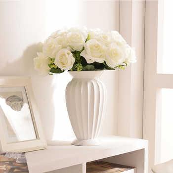 โมเดิร์น Minimalist ยุโรปสไตล์เซรามิคแจกันดอกไม้เครื่องประดับ Tabletop ดอกไม้สีขาวแจกันงานแต่งงาน Decor แจกันเซรามิค