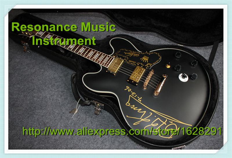 Wholesale & Retail Musical Instrument ES 335 Jazz Electric Guitar Chinese B.B.King Signature With Hardcase Together wholesale cnbald 1959 custom signature electric guitar with bridge bigsby 20th anniversary in black 120323