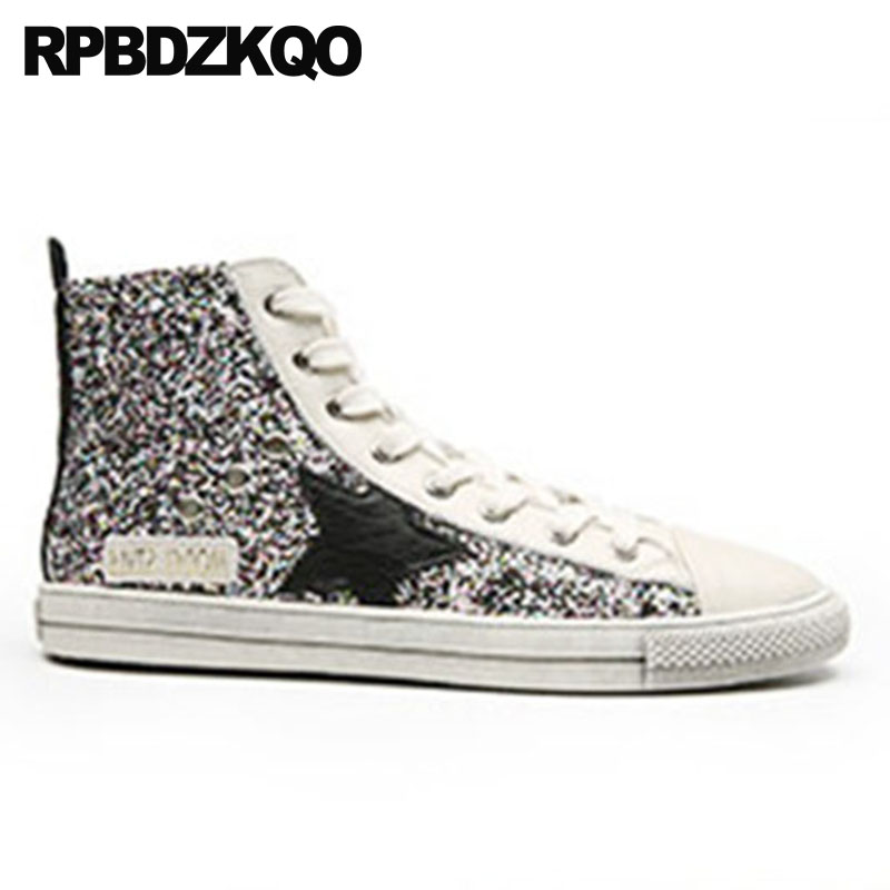 Trainers Autumn Spring Bling Sequins Single Shoes China Sneakers Chinese Flats  Glitter Round Toe Black High Top Lace Up Women-in Women s Flats from Shoes  on ... c1fd3f2cdcf7