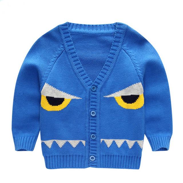 2016 Primavera Otoño chaqueta de Punto de Moda Del Niño Del Bebé Niños niño Niña Linda Grandes Ojos de Dibujos Animados Patrón de Suéter de Las Tapas de Ropa