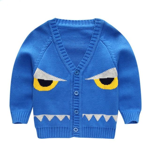 2016 Spring Autumn Toddler Baby Fashion Cardigan Sweater Children Boys Girls Cute Big Eyes Cartoon Pattern Tops Pullover Clothes