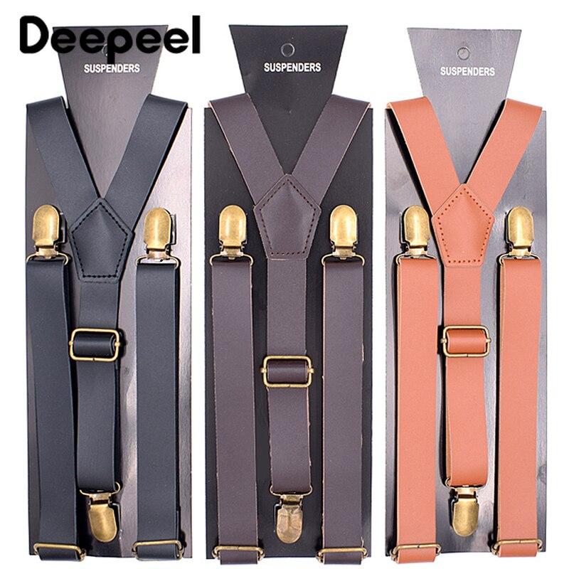 Deepeel 1pc 2.5X110cm Men's 3 Clip PU Suspenders Unisex Genuine Leather Adjustable Suspenders Leather Crafts Jeans Decoration