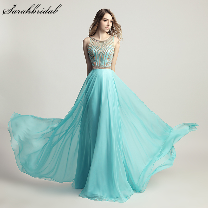 High Quality Sweety Charming   Prom     Dresses   A Line Sleeveless Chiffon Beaded Aqua   prom   Evening   dress   Vestido De Festa LSX411
