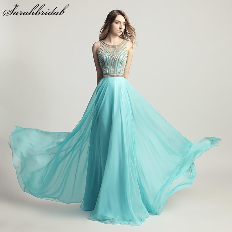 Vestido De Festa High Quality Sweety Charming Prom Dresses A Line Sleeveless Chiffon Beaded Aqua Party Evening Gown LSX411