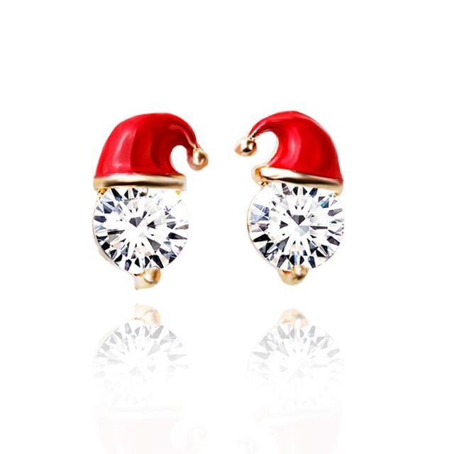 Christmas Santa Claus Hat Crystal Ear Stud