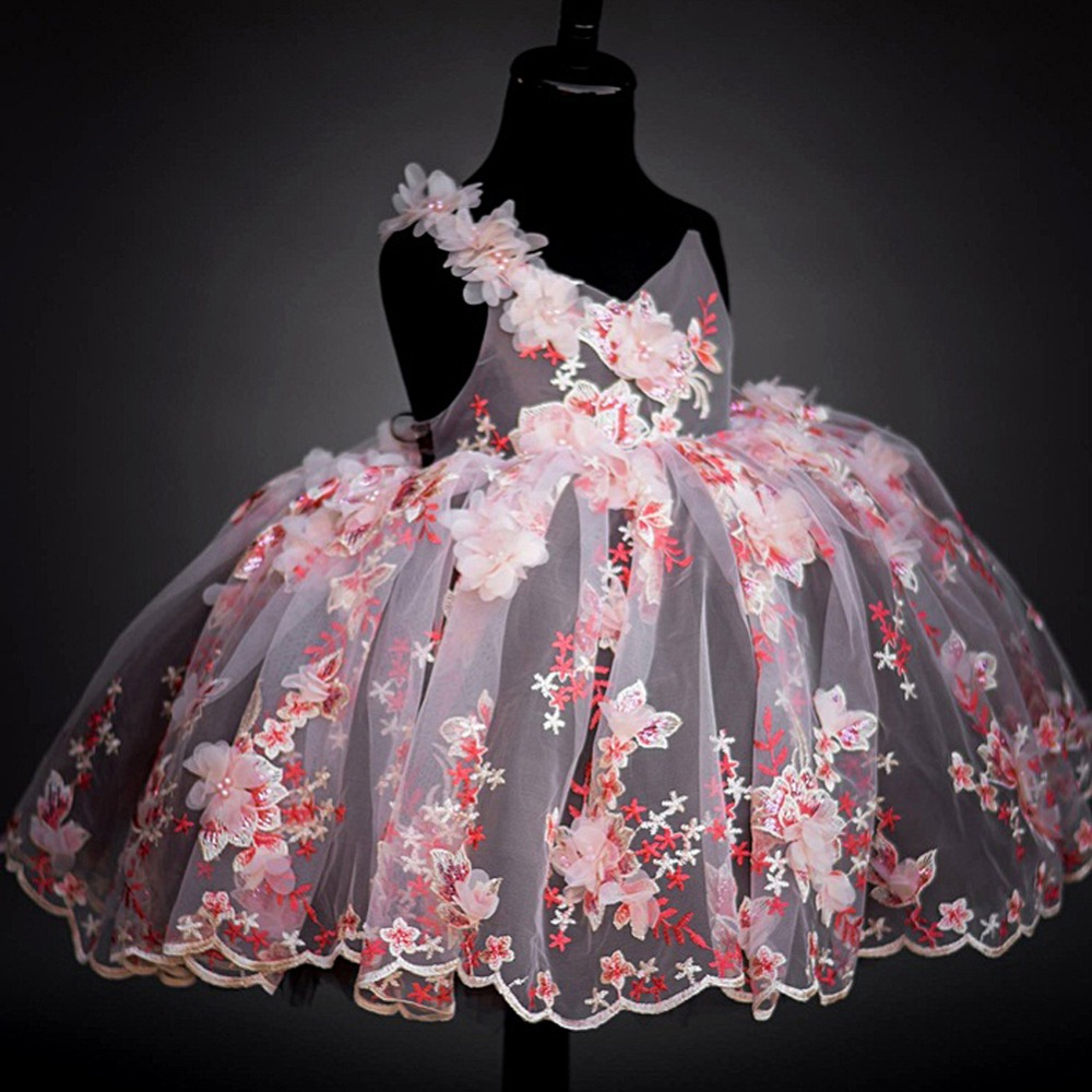 [Bosudhsou] als 3 New Arrival Pink Lace Exquisite Princess Girl Dress Party Prom Dress Girls Wedding Floral Slip Dress