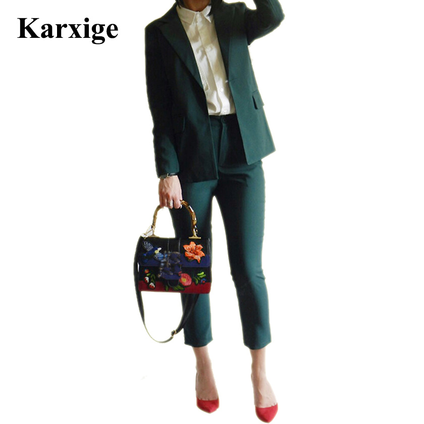Jassion&Rainy Pure Boy Friend Jacket Nine Length Pants Dark Green/Black Elegant Attractive Female Office Lady Women Suit