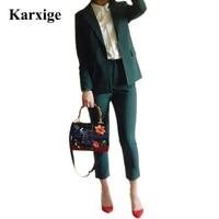 karxige Pure Boy friend Jacket nine length Pants dark green/Black elegant attractive female office lady women suit