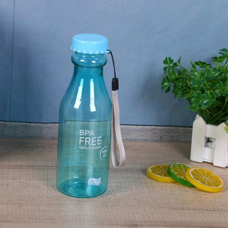 550ML Portable Plastic Leak-proof Water Bottle Outdoor Sports Water Bottle Unbreakable Lemon Juice Kettle Drinkware