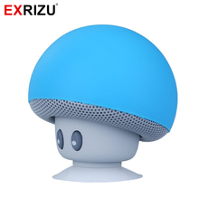 EXRIZU Mushroom Cute Mini Wireless Bluetooth Speaker Silicon Suction Cup Subwoofer Audio Music Player for iPhone 6 6s 7 Plus
