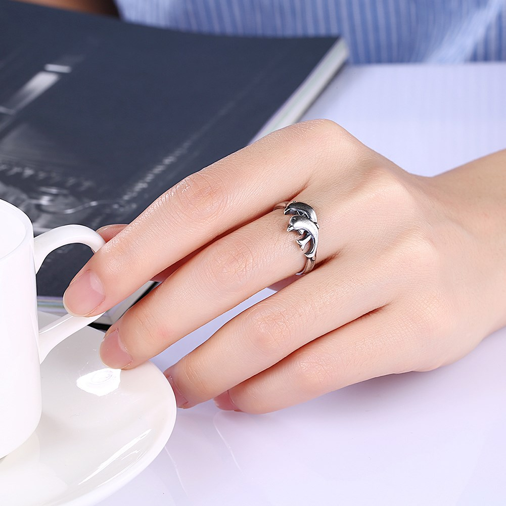 aliexpress stainless steel engagement ring black gold filled dolphin ...