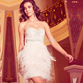 Vestido De Festa Feather Party Dresses 2014 Sexy Luxury Beaded Corset Short Cocktail Dresses Elegant Prom Dress Robe Cocktail