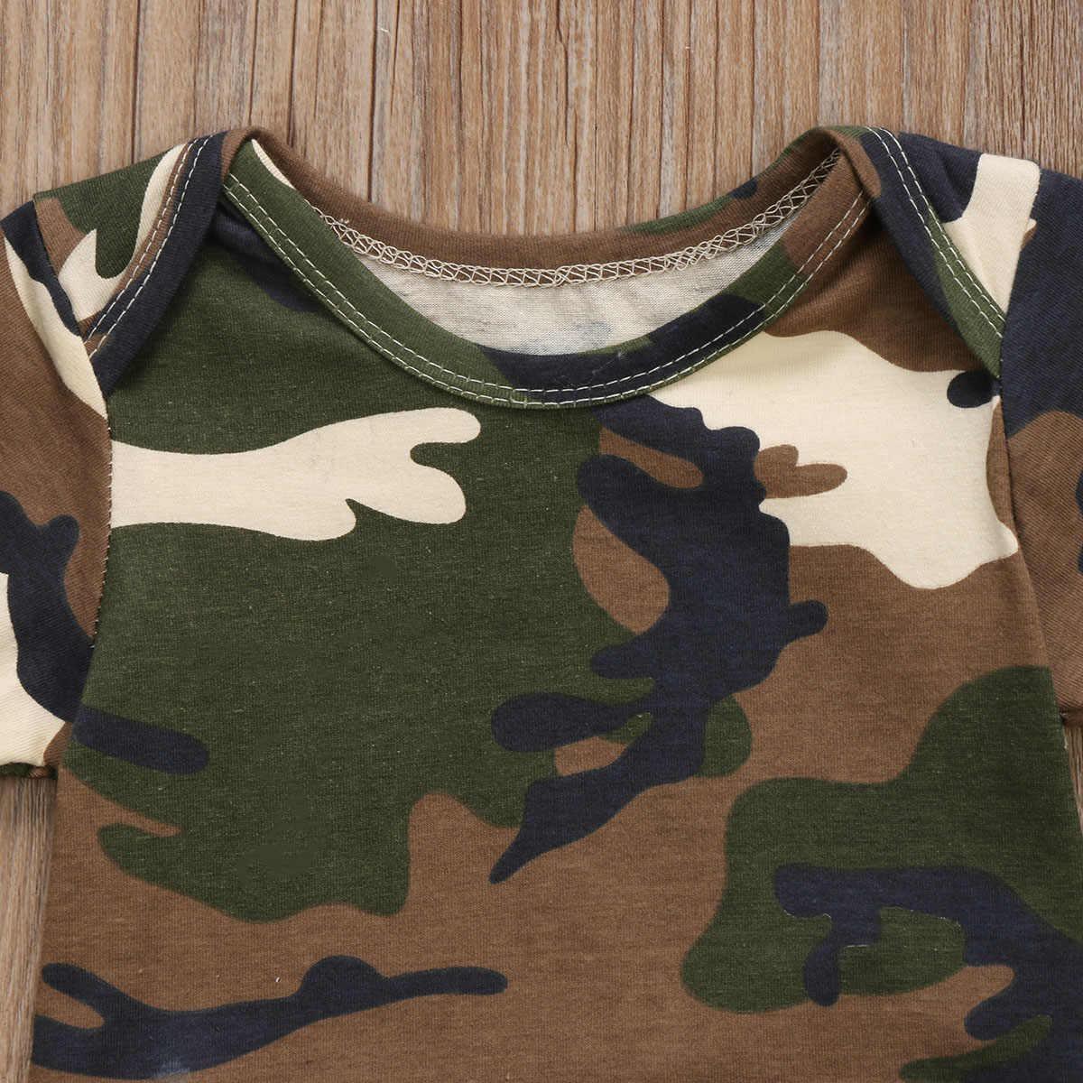 Для новорожденных; Комбинезон для маленьких мальчиков и девочек милые детские Армейский зеленый камуфляжный комбинезон Повседневное короткий рукав детская одежда