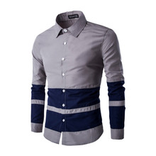 2017 fashion casual comfortable casual mens business shirt long sleeve man , European Style Stripes Men's Slim Shirt Gray, white