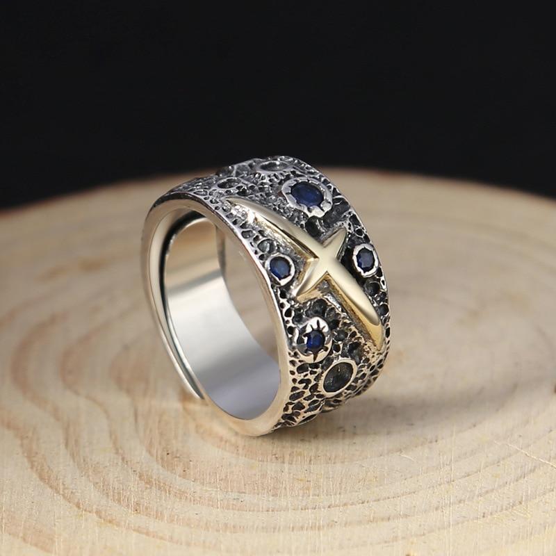 Véritable S925 argent or couleur croix hommes anneau de haute qualité Thai argent bleu étoilé rétro ouvert anneau cadeau d'anniversaire bijoux en gros - 3