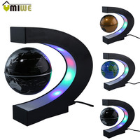 Fashion Home Decoration LED Floating Tellurion C Shape Magnetic Levitation Floating Globe World Map With LED