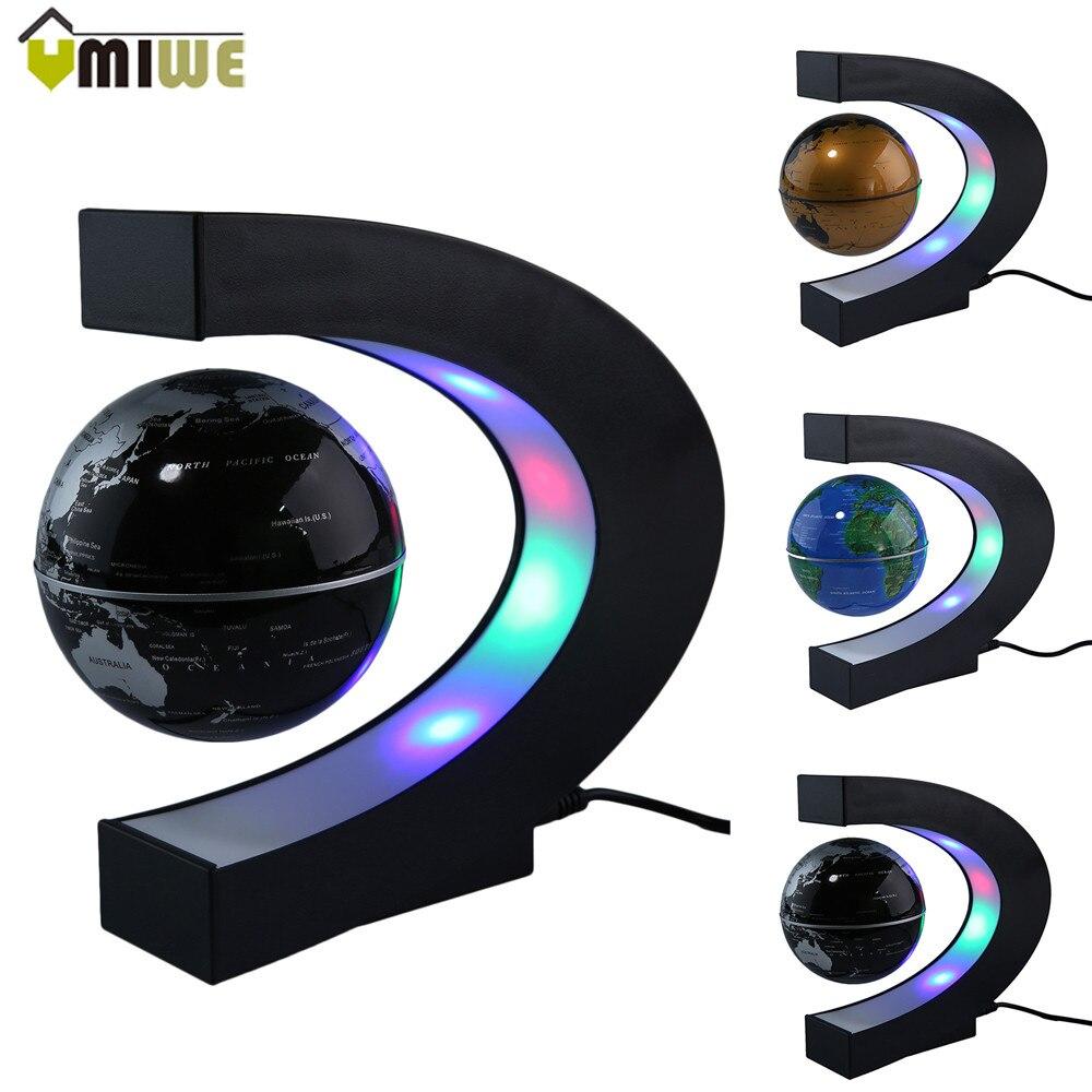 Mode Dekoration LED Schwimm Tellurion C Form Magnetschwebebahn Schwebender Globus Weltkarte Mit LED-Licht US/UK/Eu-stecker