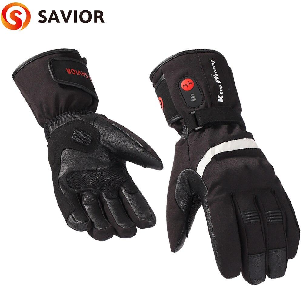Genuine leather motobike heated glove riding racing