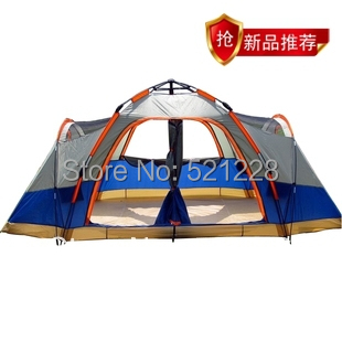 Fully-automatic 4 seasons double layer family 6-8 persons fishing beach outdoor camping tent automatic,tent 6 person 2 bedrooms new arrival fully automatic two hall 6 8 person double layer camping tent against big rain large family outdoor tent 190cm high