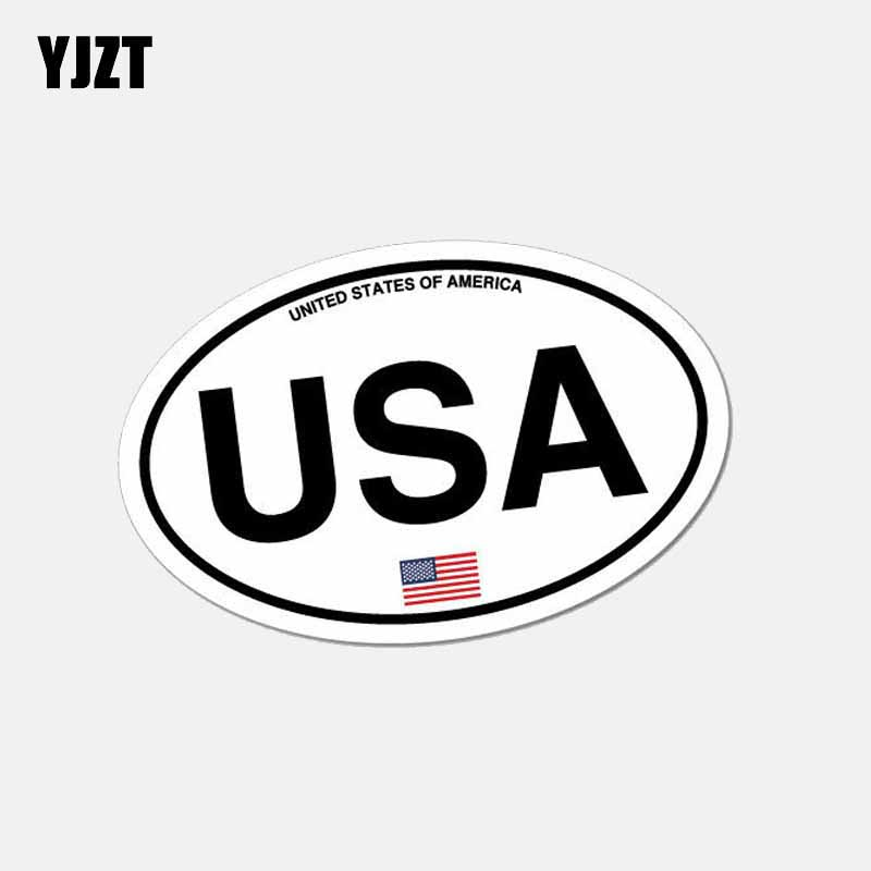 YJZT 10.5CM*6.5CM Funny Oval USA America Country Code Car Sticker Window Helmet Decal 6-2638