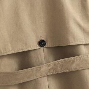 Image 5 - Vee topo feminino casual cor sólida duplo breasted outwear moda faixas casaco de escritório chique epaulet design longo trincheira 902229