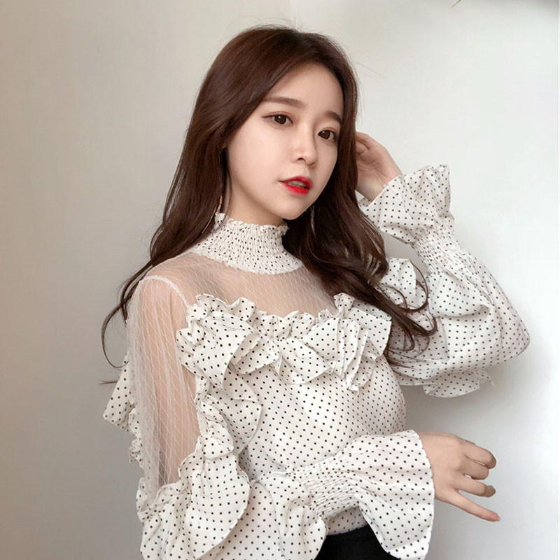 Women Fashion Blouse Stand Collar Flare Sleeve Fairy Shirts Sweet Dot Printed Tops Sexy Cold Shoulder Ruffled Mesh Ladies Blusas